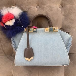 FENDI Denim Studded Mini 3Jours Tote